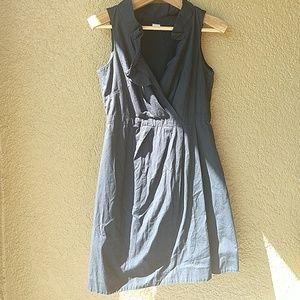 J crew cotton ruffle collar v neck dress